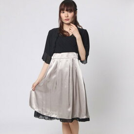 7c959b46da8f5 ファイン FINE 配色ワンピースドレス×襟柄付きボレロ (ブラック×ベージュ×ブラック