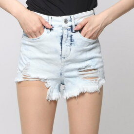 ゲス GUESS BLEACHED HIGH-RISE DENIM SHORT (TOWEL BLEACH)