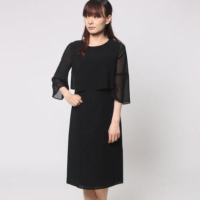ブラックギャラリー BLACK GALLERY シフォン素材のベルスリーブ夏ワンピース (ブラック) [ブラックフォーマル 夏用 喪服 礼服]