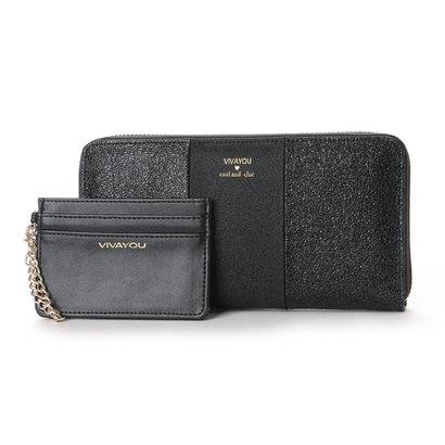 ビバユー VIVAYOU メタリック合皮ラウンドジッパー長財布 (ブラック)