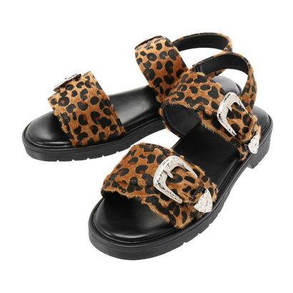 イーハイフンワールドギャラリー E hyphen world gallery バックルベルトサンダル(ハラコ) (Leopard)