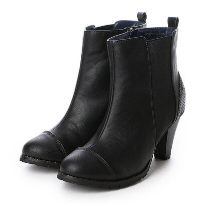 【アウトレット】エル ELLE 7.5cmサイドゴアショートブーツ (BLA)