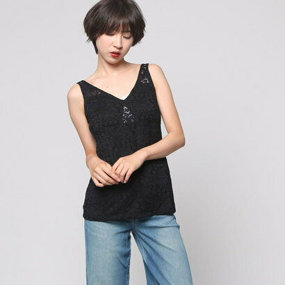 【アウトレット】ゲス GUESS SL AMELIE LACE TOP (JET BLACK)