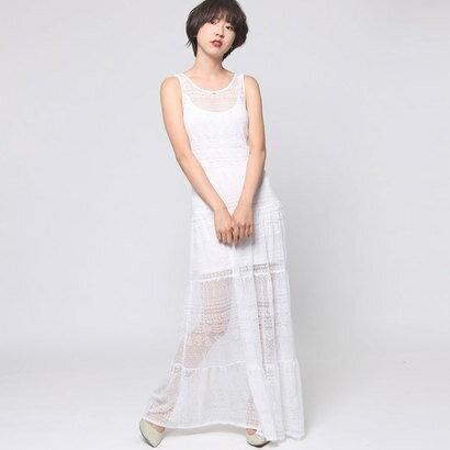 【アウトレット】ゲス GUESS PAQUITA LONG LACE DRESS (TRUE WHITE)