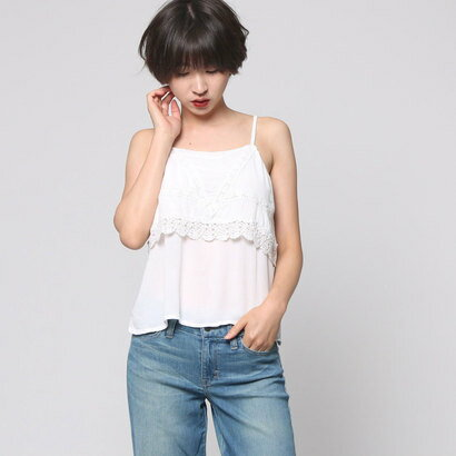 【アウトレット】ゲス GUESS S/L LACE TRIM TOP (TRUE WHITE)