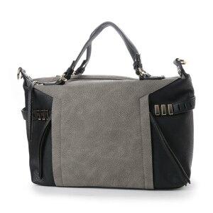 【アウトレット】イグジスタンス EXISTENCE フェイクレザー配色デザインボストンバッグ (グレイ/ブラック)