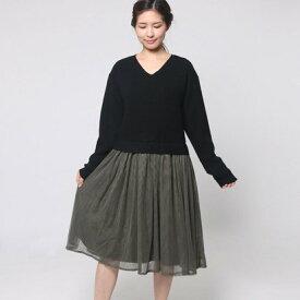 0c0393dd8b210 ファッション通販サイトKMC · ファイン FINE Vニットドッキングワンピース (ブラック)