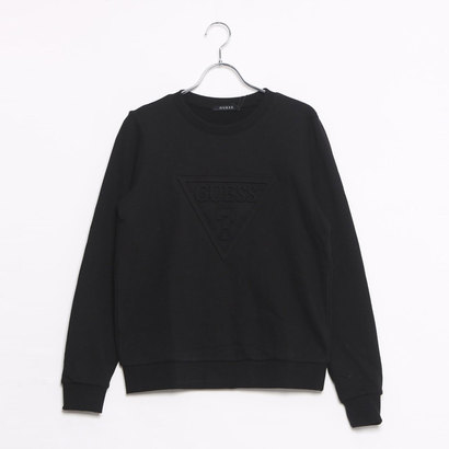 ゲス GUESS EMBOSS TRIANGLE LOGO L/S CREW SWEAT (BLACK)