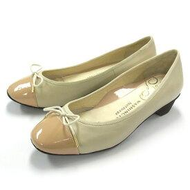 【アウトレット】銀座ワシントン WASHINGTON Foot Happy 320-F23205 コンフォート仕様のリボン付きローヒールパンプス (ピンクベージュ)