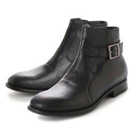 【アウトレット】キスコ KISCO [本革]メンズカジュアルベルト飾りサイドジッパーアンクルブーツ (ブラック)