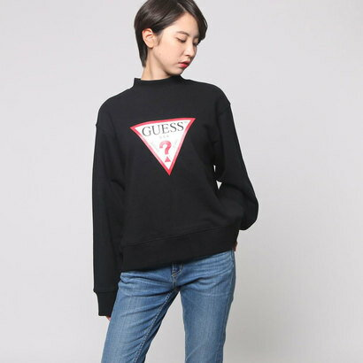 ゲス GUESS TRIANGLE LOGO L/S MOCKNECK SWEAT (BLACK)