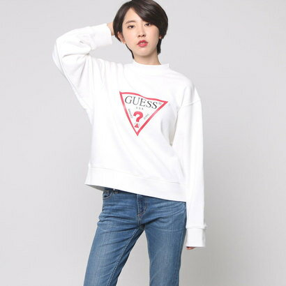 ゲス GUESS TRIANGLE LOGO L/S MOCKNECK SWEAT (WHITE)