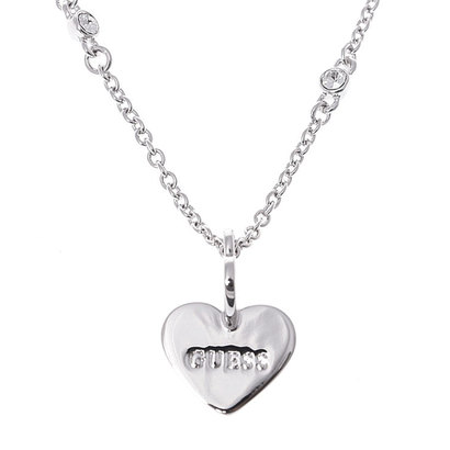 ゲス GUESS ME & YOU TWISTED HEARTS & CRYSTAL NECKLACE (SILVER) (SILVER)