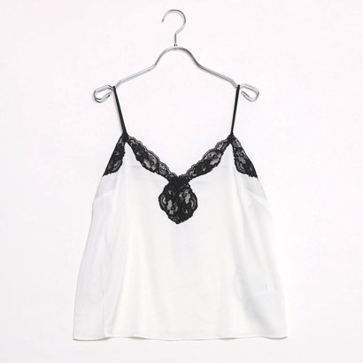 【アウトレット】ゲス GUESS SERENA LACE SATIN CAMI (WHITE ALYSSUM)