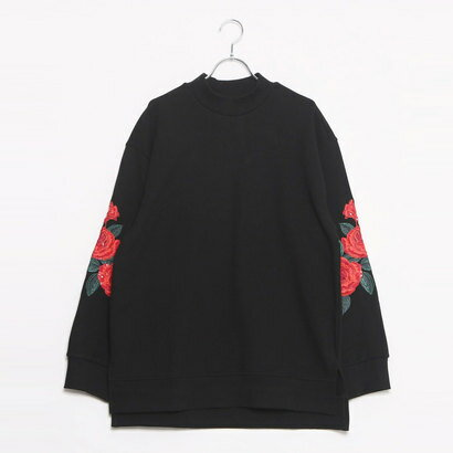 ゲス GUESS ROSE EMBROIDERY L/S MOCK NECK SWEAT (BLACK)