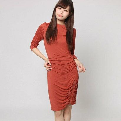 【アウトレット】ゲス GUESS 3QUARTER SLEEVE CHARLENE SHIRRED DRESS (AUTUMN RED)