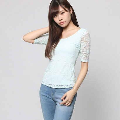 【アウトレット】ゲス GUESS HALF SLEEVE CROSS BACK LACE TOP (SKYLIGHT BLUE)