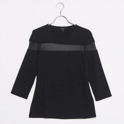 【アウトレット】ゲス GUESS 3QUARTER SLEEVE BRIANNA MESH INSET TOP (JET BLACK)