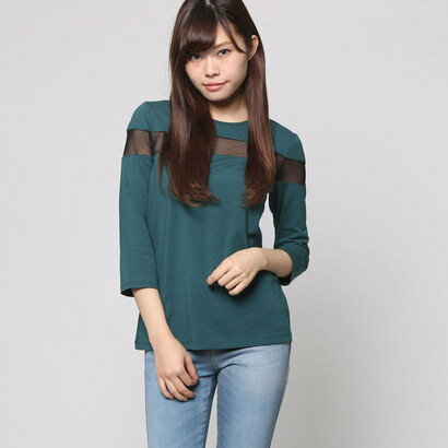 【アウトレット】ゲス GUESS 3QUARTER SLEEVE BRIANNA MESH INSET TOP (MOUNTAIN GREEN)