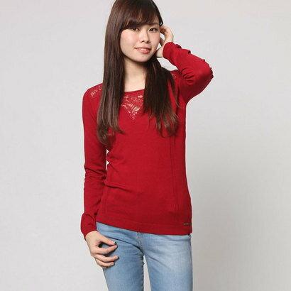 【アウトレット】ゲス GUESS L/S CREW NECK ISMERIA SWEATER (VICTORIA RED)