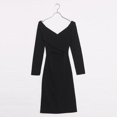 ゲス GUESS IRINA CROSSOVER STRETCH DRESS (JET BLACK W/ FROST GREY)