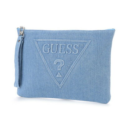 ゲス GUESS EMBOSSING TRIANGLE LOGO DENIM CLUTCH BAG (MEDIUM BLUE)