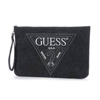 ゲス GUESS EMBROIDERY TRIANGLE LOGO DENIM CLUTCH BAG (BLACK)