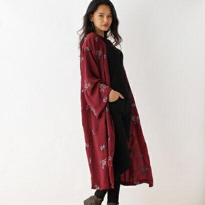 オゾック OZOC ビンテージサテン刺繍ガウンカーディガン (レンガ)