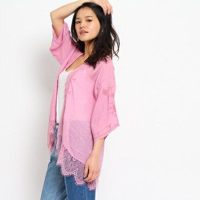 オゾック OZOC ショート丈刺繍ガウンカーディガン (ピンク)