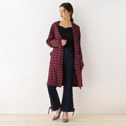 オゾック OZOC 袖刺繍チェックシャツガウン (ボルドー)