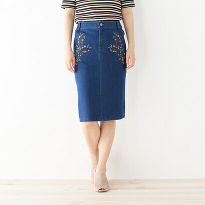 【アウトレット】インデックス INDEX 刺繍入りデニムタイトスカート (ネイビー)
