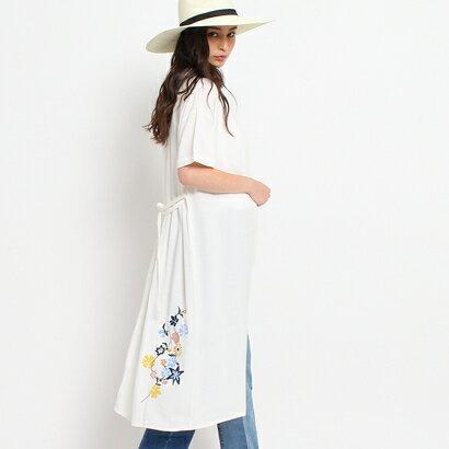 オゾック OZOC 刺繍シャツワンピース (オフホワイト)