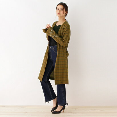 オゾック OZOC 袖刺繍チェックシャツガウン (キャメル)