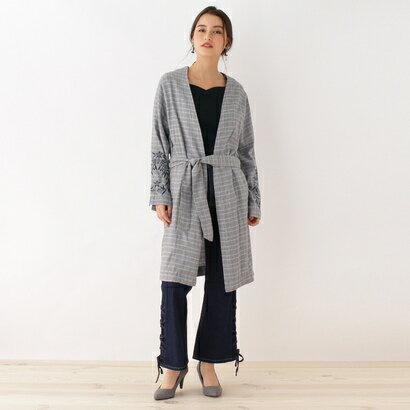 オゾック OZOC 袖刺繍チェックシャツガウン (グレー)