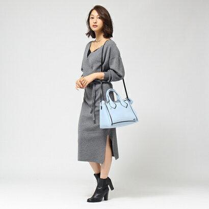 アクアガール クローラ aquagirl/CROLLA 【WEB限定】カシュクールミディ丈ニットワンピース (グレー)