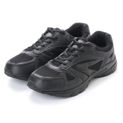 アースマーチ EARTH MARCH シンプルスニーカー 黒い運動靴 メッシュ素材 (BLACK)