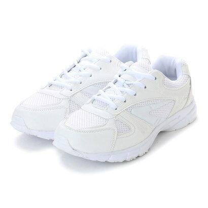 アースマーチ EARTH MARCH シンプルスニーカー 白い運動靴 メッシュ素材 (WHITE)