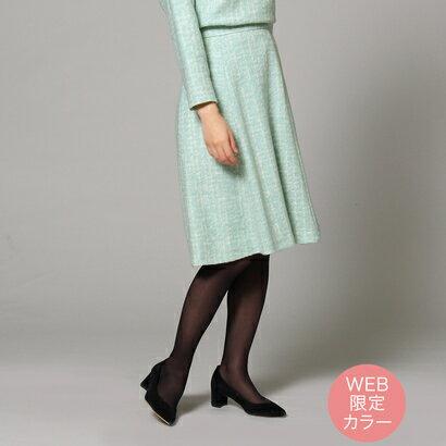 【アウトレット】アンタイトル UNTITLED モヘヤブレンドチェック柄スカート (カーキ&グリーン系)