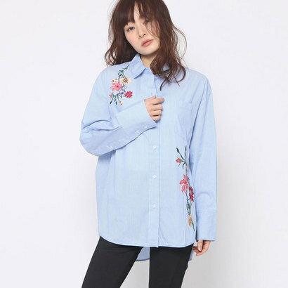 【アウトレット】ゲス GUESS FLOWER EMBROIDERY STRIPE SHIRT (BLUE)