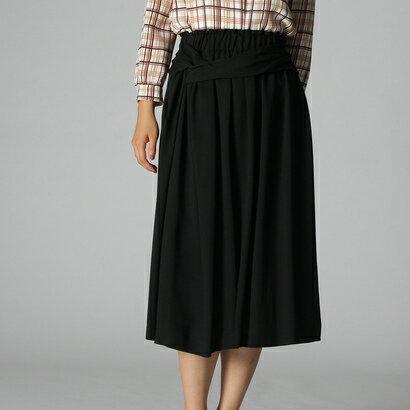 【アウトレット】アンタイトル UNTITLED 〔洗える〕フレアストレートミディ丈スカート (ブラック)