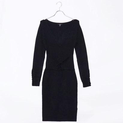 ゲス GUESS BLAKE CORSET SWEATER DRESS (JET BLACK)