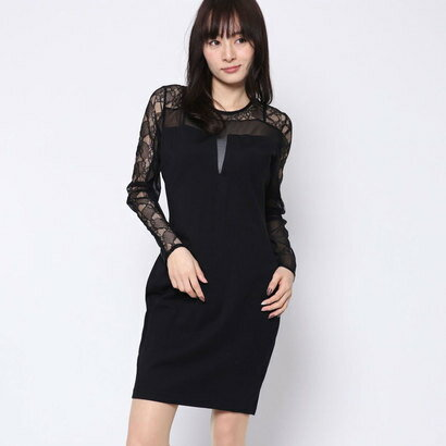 ゲス GUESS GISELE LACE DRESS (JET BLACK)