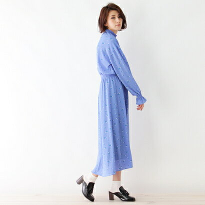 インデックス INDEX シャーリングフラワー柄ワンピース (ブルー)
