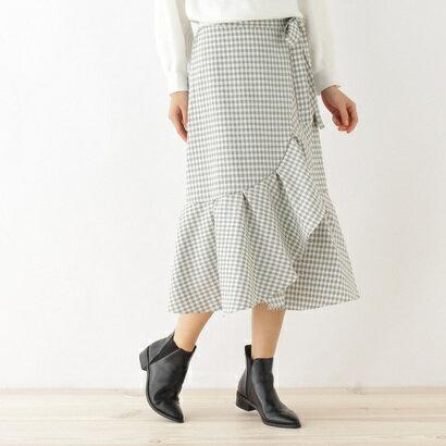 オゾック OZOC 巻き風フリルマーメイドスカート (ホワイト)