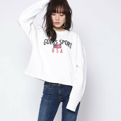 ゲス GUESS Originals CROP CREW SWEAT (IVORY)【JAPAN EXCLUSIVE ITEM】