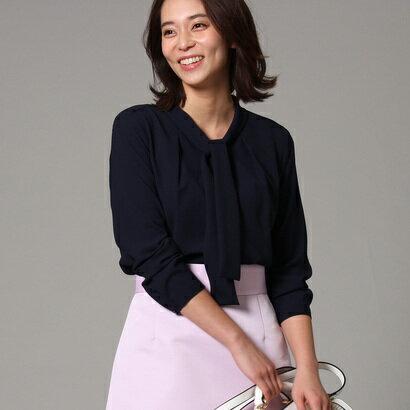 アンタイトル UNTITLED 【洗える】ジョーゼットボウタイシャツ (ネイビー)