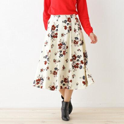 オゾック OZOC 花柄フレアミディスカート (オフホワイト)
