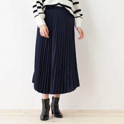 オゾック OZOC サテンプリーツスカート (ネイビー)
