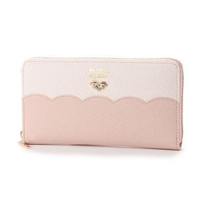 プリムヴェールリズリサ Primevere LIZ LISA サボン 配色スカラップラウンド長財布 (ピンク)