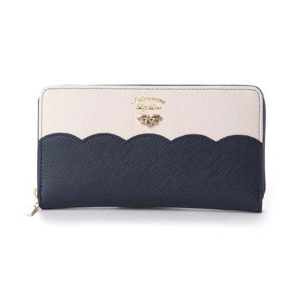 プリムヴェールリズリサ Primevere LIZ LISA サボン 配色スカラップラウンド長財布 (ネイビー)
